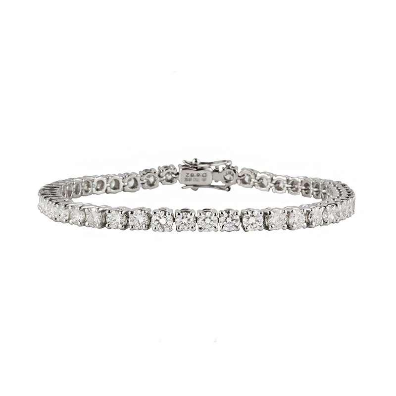 18k White Gold Round Brilliant Cut Diamond Line Bracelet 6.82ct